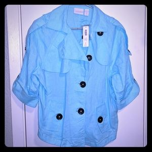 Chico's Linen cropped trench LS jacket aqua tint